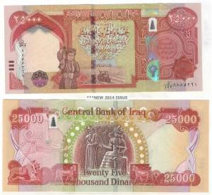 New 2014 25000 Dinar note